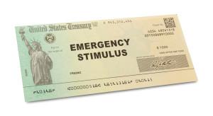 Emergency Stimulus Check Isolated on White Background.